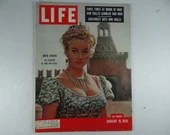 "1956 Life Magazine, January 16  - Anita Ekberg on location in ""War and Peace"" - Grace Kelly and Prince Rainier"