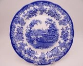 """Vintage Spode Blue Room Collection Blue and White Dinner Plate """"The Rhinoceros House"""""""