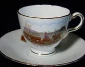 English Teacup 1950s Vintage H&M English Bone China Tea Cup Quesnel B.C. Canada Souvenir Teacup and Saucer Set