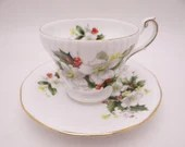 1960s Vintage English Bone China Queens Rosina Red Berry Blooms Footed Teacup and Saucer Set Fantastic Tea Cup