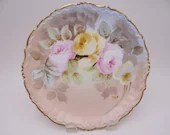 1900s Factory Decorated and Artist Signed Limoges France Elite Bawo Dotter Hand Painted Pink and Yellow Rose Plate