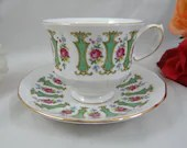 1960s Vintage English Queen Anne Bone China Purple Rose Teacup English Teacup and Saucer English Tea cup