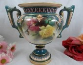 Antique Hadley Worcester Hand Painted Rose Vase - Outstanding