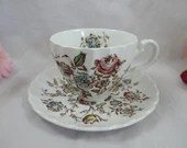 Vintage Johnson Bros Staffordshire Bouquet English Teacup and Saucer English Tea Cup