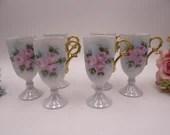 Vintage Set of Six Hand Painted Artist Signed Irish Coffee Mugs