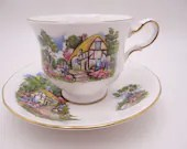 1960s Vintage English Queen Anne Bone China Country Cottage English Teacup and Saucer English Tea cup 8677