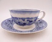 """1950 Vintage Johnson Bros England Historic America Blue and White Teacup and Saucer Set """"San Francisco""""  - 5 Available"""