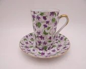 1950s Lefton Japan Violet Chintz Tall Coffee Cappuccino Cup Teacup and Saucer Set