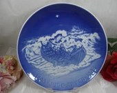 """Extra Large 1985 Bing and Grondahl B&G Christmas Jubilee Collector Plate """"Lifeboat at Work"""""""