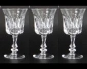 """Set of 3 Vintage Gorham De Medici Crystal Cordial or Sherry Glasses with Cut Dot and Cut Vertical Line - Marked Gorham on Bottom 4.25"""" Tall"""