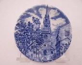 "Vintage Liberty Blue Historic Colonial Scenes Blue and White Coaster ""Old North Church"" -  5 available"