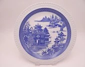 """Vintage Spode Blue Room Collection Willow Series Blue and White Dinner Plate """"Temple with Panel"""""""