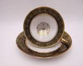 Vintage Mid Century Retro German Winterling Bavaria Black and Gold Teacup and Saucer German Tea Cup