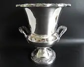 Elegant and Ornate Silverplate Champagne Wine Cooler Ice Bucket with Monogram (see description)