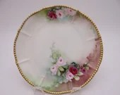 1900s Limoges France Elite Bawo Dotter Hand Painted Pink and Purple Rose Plate