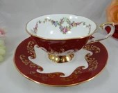 """Spectacular English Bone China Rosina Queens China Red """"Emperor"""" Teacup and Saucer Set English Tea Cup"""