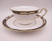 "Near Mint Vintage Spode English Bone China Made in England ""Chancellor Cobalt"" Y8439 Teacup and Saucer Set English Tea Cup"