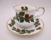 """Vintage English Queen Anne Bone China """"Yuletide"""" Poinsettia Teacup English Teacup and Saucer English Tea cup"""