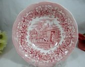 "Ironstone England  ""Red River"" Red Soup or Cereal Bowl - 5 available."
