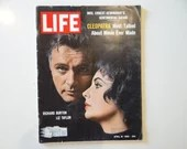 Vintage 1963 Life Magazine, April 19, Richard Burton Elizabeth Taylor in Cleopatra - Most Talked About Movie Ever