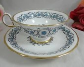 1950s Vintage Hand Decorated Royal Chelsea English Bone China Teacup English Teacup and Saucer set WOW Blue Tea Cup