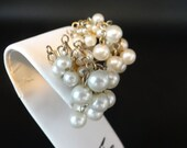 Faux Pearl Cluster Clip Earrings on a Gold Tone Setting Pretty Mid Century Modern Earrings - Classic - Elegant