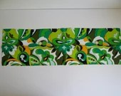 "Vibrant Vintage Bright Green Orange Black and White Flower Pattern Scarf 44"" by 14"""