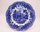"""Vintage Meakin """"Romantic England"""" Blue and White Haddon Hall Dinner Plate - 8 Available"""