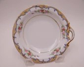 1890 to 1920 Antique Hand Painted Nippon Pink Rose Nut or Candy Dish Nappy