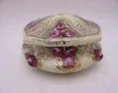 1920s Antique Vintage Hand Painted Nippon Purple Flower Yellow and Gold Vanity Jewelry Box