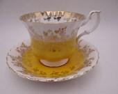 "Vintage English Bone China Royal Albert Teacup and Saucer ""Regal Series"" Yellow English Teacup"