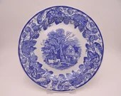"""Vintage Spode Blue Room Collection Blue and White Dinner Plate """"Rural Scenes"""""""