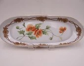 1890s Antique Vintage Hand Painted Nippon Colorful Red Orchid Serving Celery or Sushi Dish or Bowl