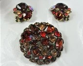 Signed Weiss Round Faceted Red and Amber Rhinestone Brooch and Earring Demi Parure Set - Vintage Weiss Brooch and Clip Earring Set