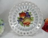 Vintage Reticulated Lattice Fruit or Serving Bowl