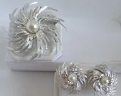 Vintage Mid Century Sarah Coventry Silvery Sunburst Brooch and Clip Earrings Demi-Parure Set - Gorgeous