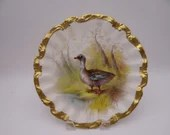 c1890s Hand Painted Factory Decorated Coiffe Lewis Strauss Limoges France Game Bird Duck Cabinet Plate - Simply Incredible