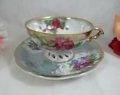 1940s Vintage Hadson Purple Rose Lattice Reticulated Lusterware Teacup and Saucer Japanese Tea Cup