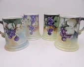 Antique Set of 4 Hand Painted Artist Signed Rosenthal Selb Germany Beer Tankards Mugs