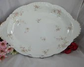 Very Large 1900s Theodore Haviland Limoges France for Meier China and Glass Co. St Louis Mo Serving Platter - Special and Rare Pink Spray