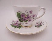 Vintage 1930s Sutherland English Bone China Tea cup Purple Wildflower English Teacup and Saucer Set