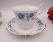 "Vintage English Bone China Royal Albert Blue Teacup and Saucer Set ""Meadowcroft"" English Tea Cup"