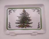 "Vintage Spode Christmas Tree 6"" Melamine Rectangular Sandwich Tray - 2 Available"