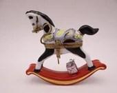 Vintage Limoges France Hand Painted La Gloriette Rocking Horse Trinket Box Pill Box - Stunning