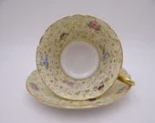 1940s Vintage Shelley English Bone China Rose Pansy Forget-Me-Not Chintz Teacup and Saucer Set  Elegant Tea Cup 12609