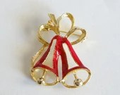 Merry Red Christmas Bells Brooch Pin Adorned by a Large Gold Tone Ribbon - Ho Ho Ho