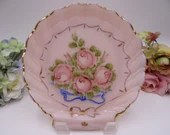 Vintage Hand Painted Pink Rose Glass Nappy or Serving Dish