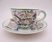 """Vintage Farmers Arms """"God Speed The Plough"""" English Bone China Demitasse Cappuccino Teacup and Saucer Set English Tea Cup Espresso Cup"""