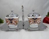1920s Vintage English Bone China Lancaster and Sons Imari Jam Jar Set - Relish Jar