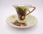 1950s Hand Painted Enesco Pineapple Lattice Demitasse Espresso Cappuccino Teacup and Saucer Set Stunning and Outstanding Tea Cup